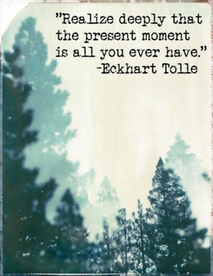 Realize deeply that the present moment is all you ever really have....