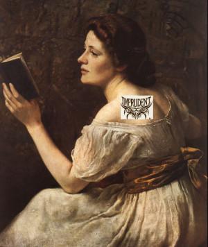 Romantic-era girl imprudently reading a novel