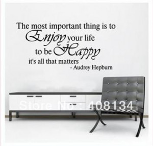 FREE #TH1006 Enjoy Your Life To Be Happy Home Decoration MuralHome ...