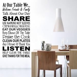 Wall Decals - At Our Table - Wall Quotes - Wall Stickers