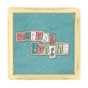 Teal Pink Merry and Bright Christmas Pin