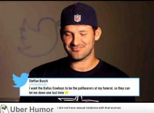 Tony romo reading mean tweet about himself.