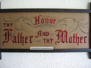 Antique Sampler Style, Kit, Honor Thy Father And Mother Samplers photo