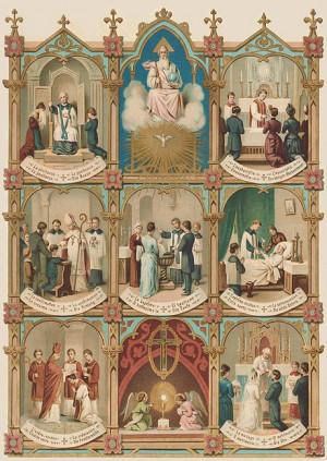 Details zu 7 Sakramente Taufe Firmung Beichte Heilig Öldruck 23