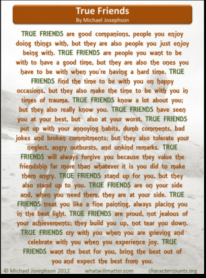 ... for WORTH SEEING: Poster of True Friends poem by Michael Josephson