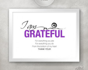 ... Quote Print / Gratitude / Happiness Quote / Thank You Art // 5x7