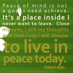 Peace of mind quote – live in peace today