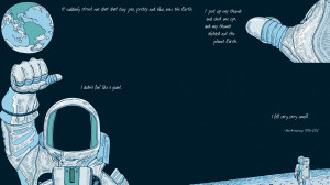Neil Armstrong Planet Earth Quotes Custom Drawn HD Wallpaper