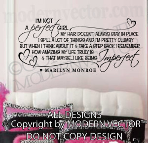 ... MONROE Quote Vinyl Wall Decal I'M NOT A PERFECT GIRL Vinyl Stickers