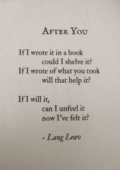 After You #poetry #poem #love #heartbreak More