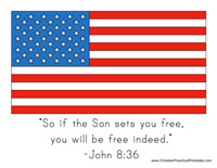 4th of July craft: flag with bible quote