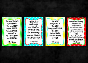 of 4 - Dr. Seuss Quote Prints - Classroom posters or nursery prints ...