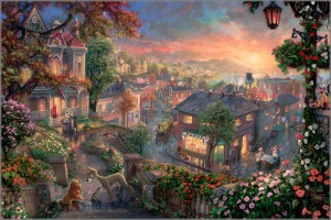 Thomas Kinkade - Lady and the Tramp