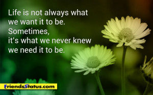 Life is not always what we want it to be. Sometimes, it's what we ...
