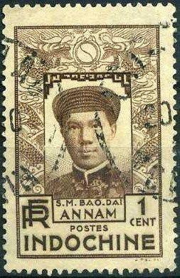 Indochine, 1936, timbre 171, Empereur Bao-Dai, oblitéré.
