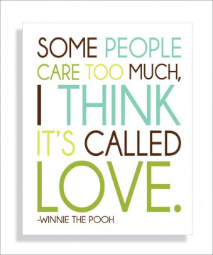 Pooh Bear Quote About Love Art Print-8x10 Typography Valentines Day