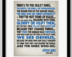 Steve Jobs Inspirational Quote - Heres To The Crazy One's - Typography ...