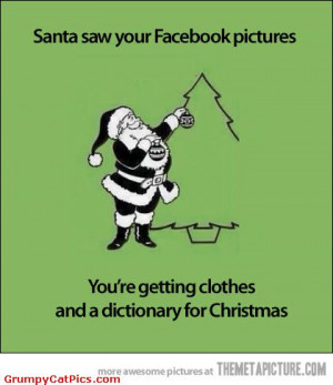 Santa Looking At Facebook Very Funny Quote Picture