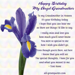 Happy Birthday My Angel Grandmother – FREE – Memorial Cards ...