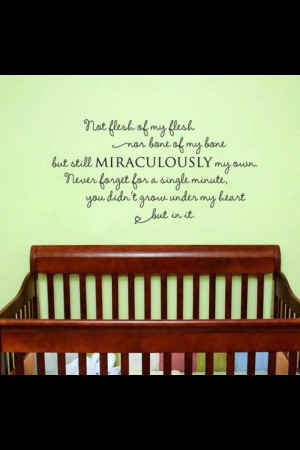 quote about adoption on a nursery wall. (a dream and a wish for us)
