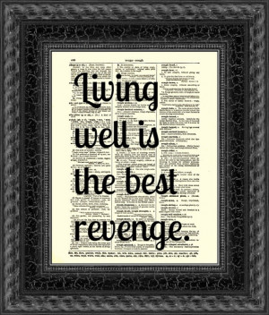... , Text Art, Vintage Dictionary Page, Dorothy Parker Living Well Quote