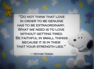 Do not think that love in order to be genuine has to be extraordinary ...