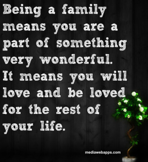 family means you are a part of something very wonderful. It means ...