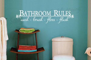 Bathroom rules 8x36 Vinyl Lettering Wall Quotes Words Sticky Art