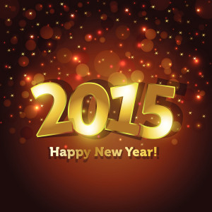Happy New Year 2015 – Golden Font on dark brown and black background
