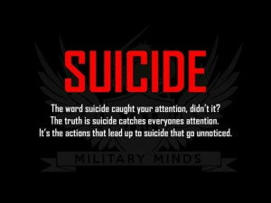 Don't let the things that lead up to suicide go unnoticed.....