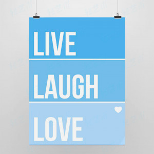 Light Art Picture Saying Live Laugh Love Blue Modern Minimalist Poster ...