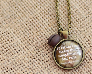 Coffee Quote Pendant with Coffee Bean Charm, Gift for Her (1304)