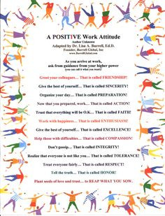 Positive Work Attitude -- this could easily be adapted for school ...