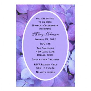 80th Birthday Party Invitation -- Hydrangeas