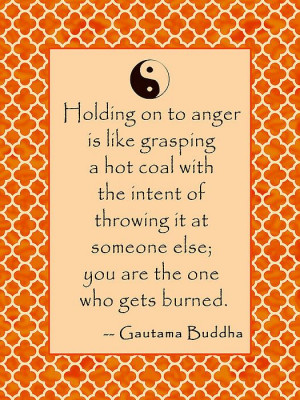 Buddha Quote About Anger in Sunrise Colors Print by Scarebaby Design