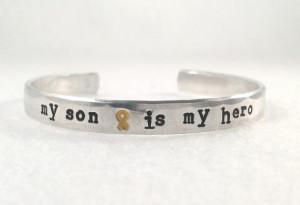 My son is my hero. Yellow ribbon. Military quote. deployment bracelet ...