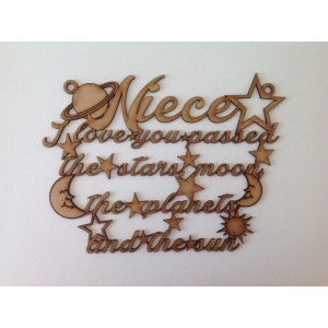 Laser Cut Niece I Love You Quote Sign