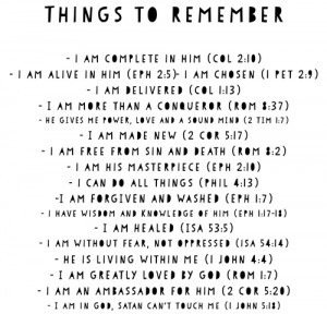Things to remember from the Bible