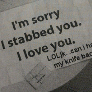 Backstabbers! I can think of a couple of ppl that should be saying ...