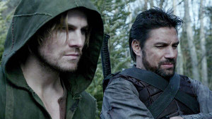 "Stephen Amell (left) and Manu Bennett (right) in CW's ""Arrow"""