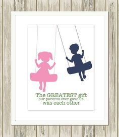 ... girl art, brother sister quote, custom colors by PicabooArtStudio More