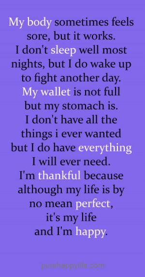 In My Life I M Happy Quotes