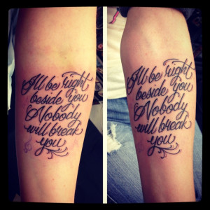 My sister and I got very meaningful matching song lyric tattoo's of ...