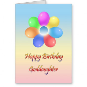 Rainbow flower Happy birthday goddaughter Card