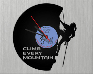 Wall vinyl record clock Climbing Silhouette, Quotes home decoration ...