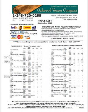 Download our full wood veneer price list