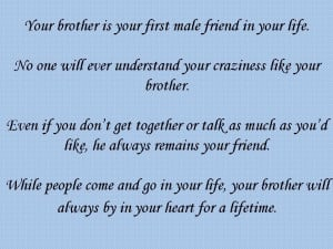 ... you thank you for being a great brother and friend all my love your