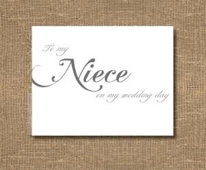 To My Niece On My Wedding Day Card