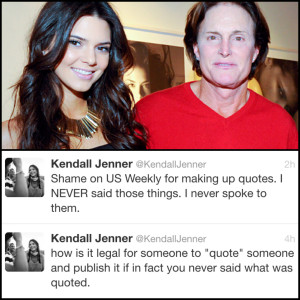 Kendall Jenner Denies Making Bruce Jenner Transitioning Quote   @ ...