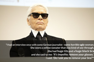 Karl Lagerfeld Bitchy Female Journalist